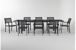 Union Outdoor 9 Piece Extension Dining Set With Sling Chairs