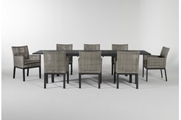 Union Outdoor 9 Piece Extension Dining Set With Woven Chairs