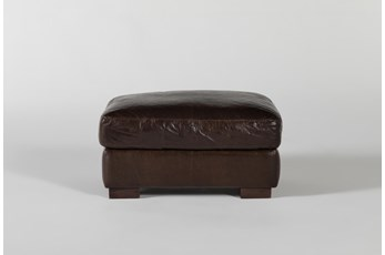 Magnolia Home Lancaster Chestnut Leather Ottoman By Joanna Gaines