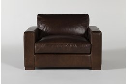 Magnolia Home Lancaster Chestnut Leather Oversized Chair By Joanna Gaines