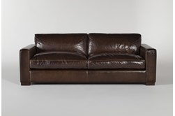 "Magnolia Home Lancaster Chestnut Leather 92"" Sofa By Joanna Gaines"