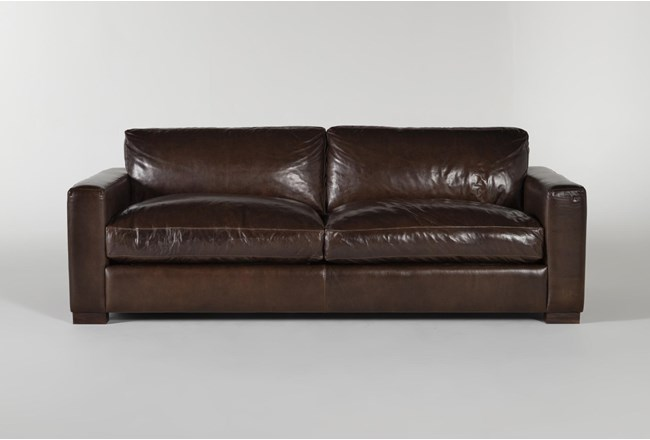 """Magnolia Home Lancaster Chestnut Leather 92"""" Sofa By Joanna Gaines - 360"""