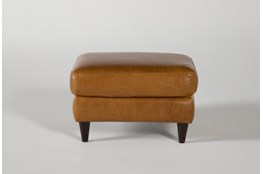 Magnolia Home Weekender Camel Leather Ottoman By Joanna Gaines