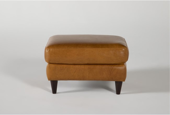 Magnolia Home Weekender Camel Leather Ottoman By Joanna Gaines - 360