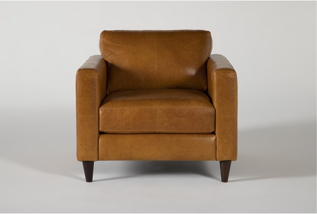 Magnolia Home Weekender Camel Leather Chair By Joanna Gaines - 360