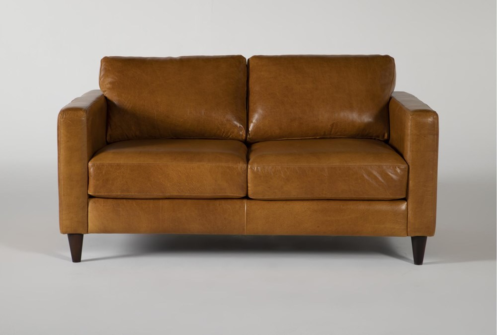 Magnolia Home Weekender Camel Leather Loveseat By Joanna Gaines