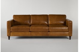 Magnolia Home Weekender Camel Leather Sofa By Joanna Gaines