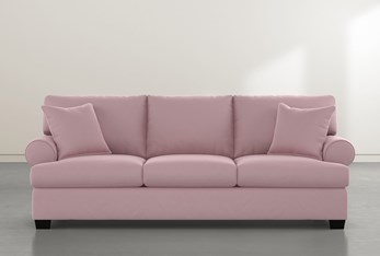 "Brody 93"" Pink Velvet Sofa"