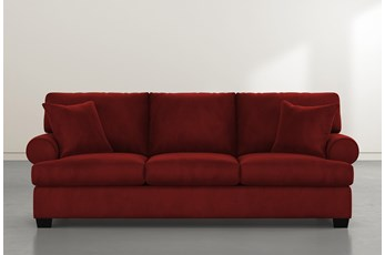 "Brody 93"" Burgundy Velvet Sofa"
