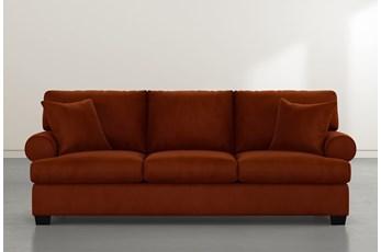 """Brody 93"""" Orange Velvet Sofa"""