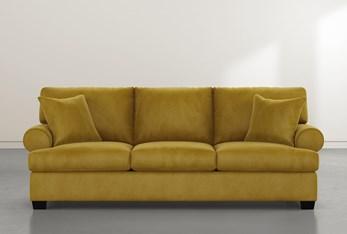 """Brody 93"""" Gold Velvet Sofa"""