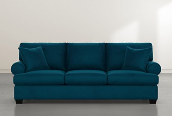 """Brody 93"""" Teal Blue Velvet Sofa"""