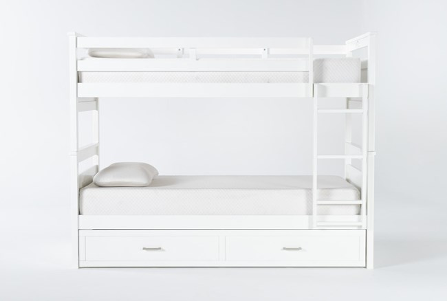 Reese White Twin Over Twin Bunk Bed With 2-Drawer Storage - 360