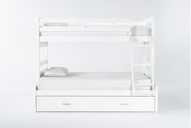 Reese White Twin Over Full Bunk Bed With 2-Drawer Storage