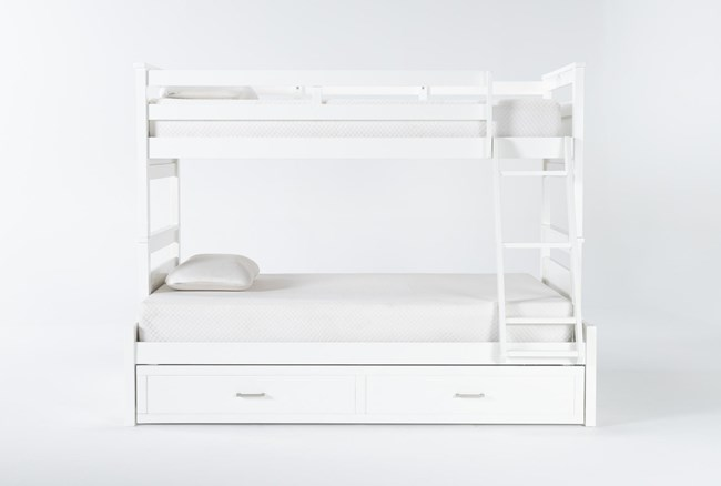 Reese White Twin Over Full Bunk Bed With 2-Drawer Storage - 360