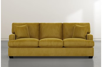 "Scott 90"" Gold Velvet Sofa"