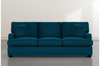 Scott Teal Blue Velvet Sofa