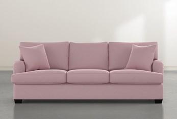 """Jenner 93"""" Pink Velvet Sofa"""