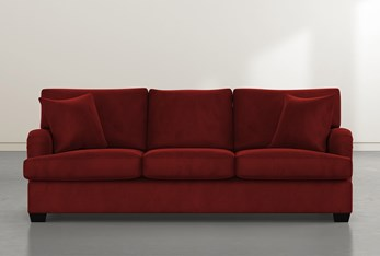 """Jenner 93"""" Burgundy Velvet Sofa"""