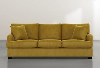 """Jenner 93"""" Gold Velvet Sofa"""