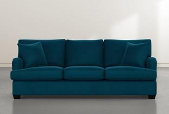 """Jenner 93"""" Teal Blue Velvet Sofa"""
