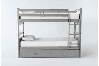 Reese Grey Twin Over Twin Bunk Bed With 2-Drawer Storage