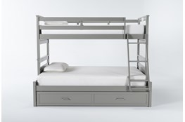 Reese Grey Twin Over Full Bunk Bed With 2-Drawer Storage