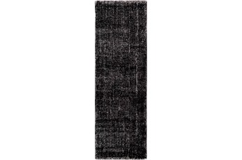 30X96 Rug-Solid With White Striation Black/White