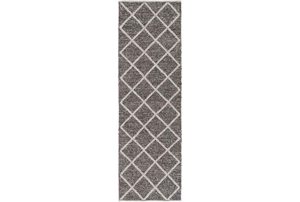 30X96 Rug-Wool And Viscose Lattice Brown/Cream