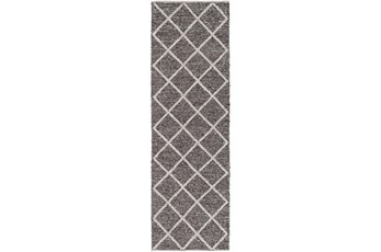 30X96 Rug-Wool And Viscose Lattice Brown/Cream
