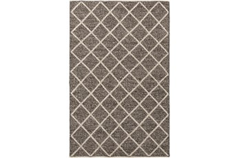 72X108 Rug- Wool And Viscose Lattice Brown/Cream