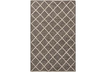 6'x9' Rug- Wool And Viscose Lattice Brown/Cream