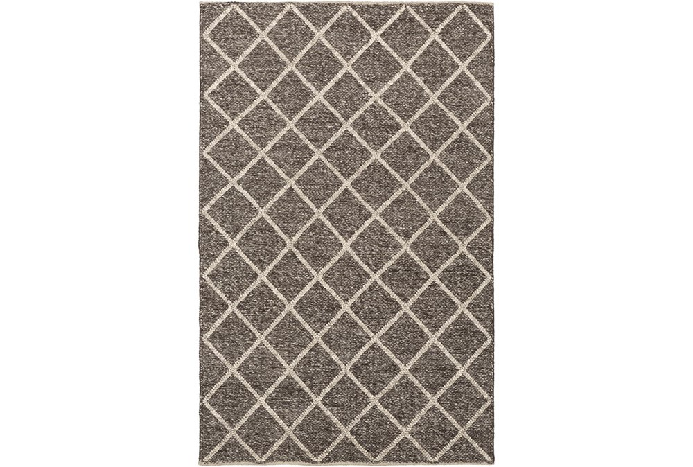 96X120 Rug-Wool And Viscose Lattice Brown/Cream