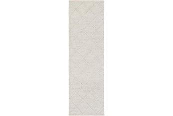 "2'5""x8' Rug-Wool And Viscose Lattice Grey"