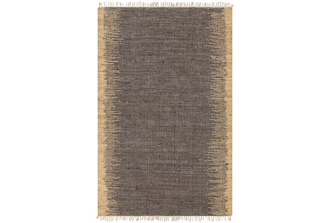 """5'x7'5"""" Rug-Leather And Jute With Fringe Brown/Wheat - 360"""