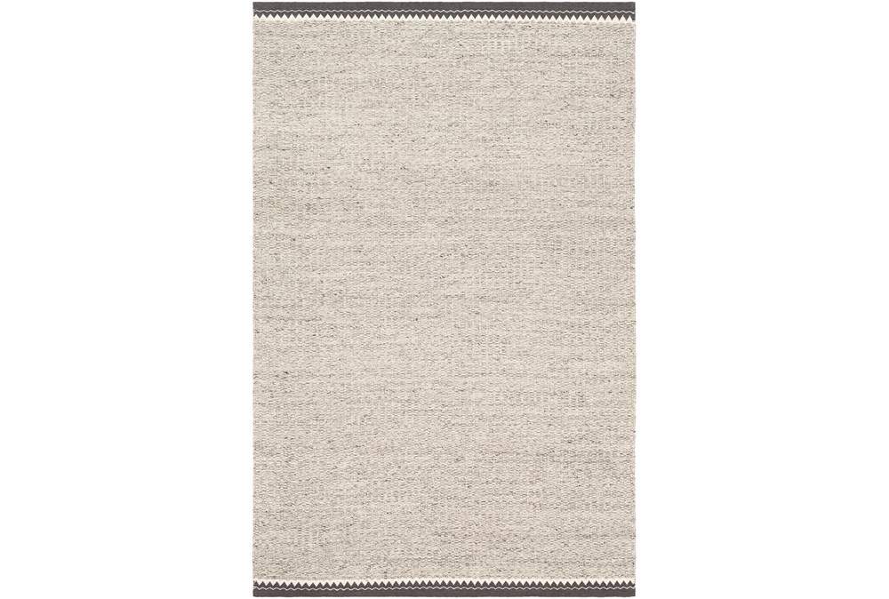 60X90 Rug-Hand Woven With Chevron Border Grey