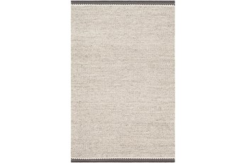 72X108 Rug-Hand Woven With Chevron Border Grey