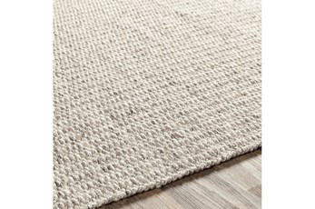 96X120 Rug-Hand Woven With Chevron Border Grey