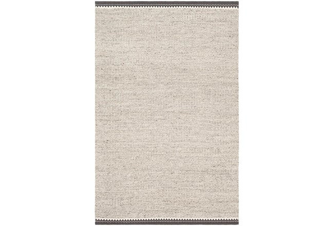 96X120 Rug-Hand Woven With Chevron Border Grey - 360