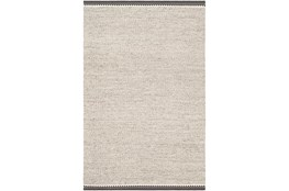108X144 Rug-Hand Woven With Chevron Border Grey