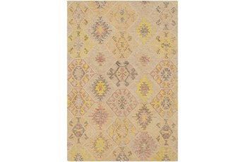 24X36 Rug-Wool Cut And Loop Modern Khaki/Multi Color