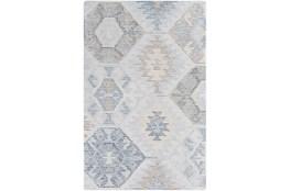 """5'x7'5"""" Rug-Wool Cut And Loop Modern Pale Blue/Multi Color"""