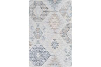 60X90 Rug-Wool Cut And Loop Modern Pale Blue/Multi Color