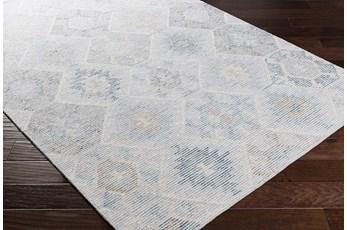 96X120 Rug-Wool Cut And Loop Modern Pale Blue/Multi Color