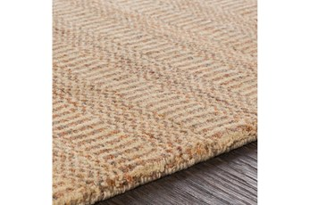 96X120 Rug-Textured Wool Burnt Orange/Khaki