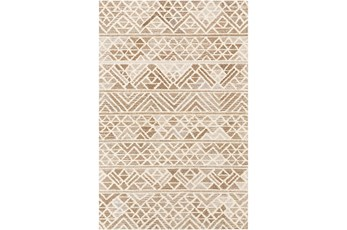 96X120 Rug-Looped Wool And Viscose Camel/Cream/Taupe