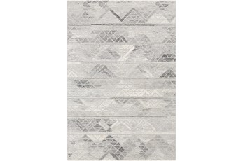 96X120 Rug-Looped Wool And Viscose Charcoal/White