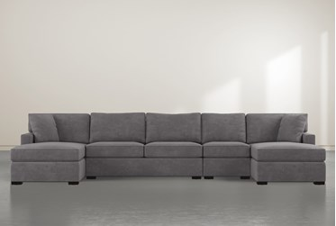 """Alder Foam 4 Piece 160"""" Sectional With Double Chaise"""
