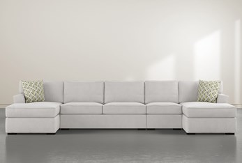 """Aspen Sterling Foam 4 Piece 156"""" Sectional With Double Chaise"""