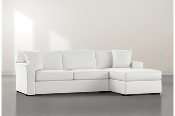 Aspen Down White 2 Piece Sectional With Right Facing Chaise